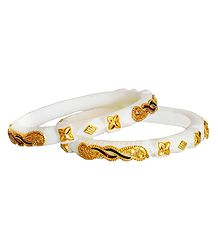 Pair of Gold Plated White Shankha