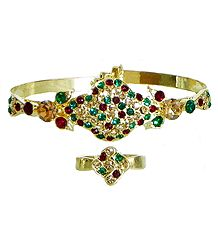 Faux Emerald, Citrine and Garnet Studded Adjustable Ring and Cuff Bracelet
