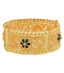 Meenakari and Gold Plated Hinged Bracelet