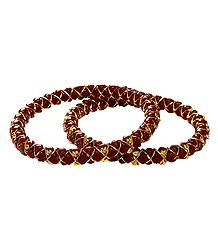 Gold Plated Red Bangles