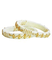 Pair of Gold Plated White Bangles