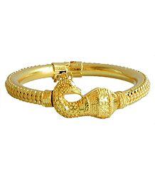 Gold Plated Peacock Design Hinged Bracelet