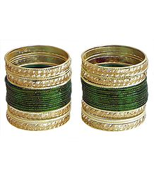 Buy Glitter Dark Green with Golden Bangles