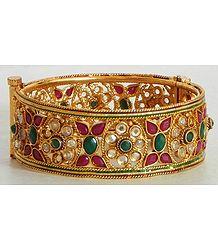 Stone Studded Polki Hinged Bracelet