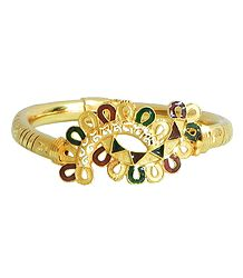 Meenakari Gold Plated Hinged Bracelet