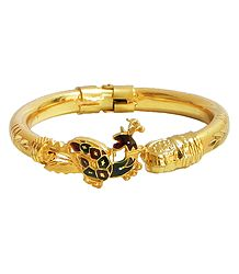Gold Plated Hinge Bracelet with Peacock Design