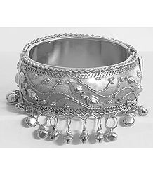 Metal Hinged Bracelet with Metal Beads