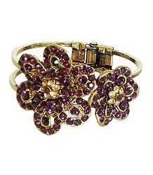 Purple Stone Studded Oxidised Metal Hinged Bracelet
