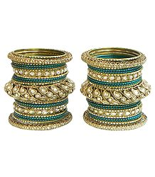 Set of 2 Cyan with Golden Kundan Bangles