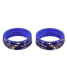 Set of 2 Stone Studded Blue Lac Bangles