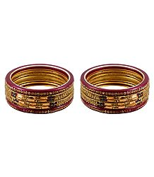 Set of 2 Stone Studded Red Lac Bangles
