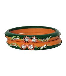 Stone Studded Saffron and Green Lac Bangles