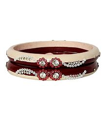 Stone Studded Peach and Maroon Bangles