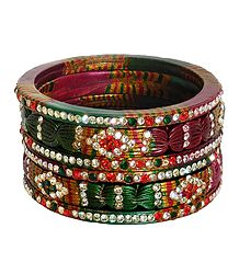 Set of Six Stone Studded Lac Bangles