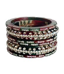 Set of 6 Stone Studded Lac Bangles