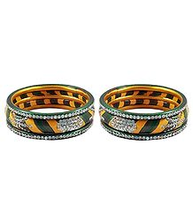 Shop Online 2 Sets of Stone Studded Lac Bangles