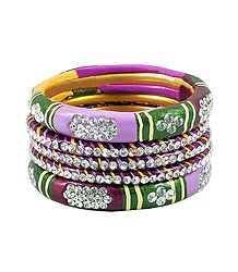 5 Stone Studded Multicolor Lac Bangles