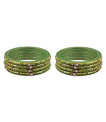Set of 2 Stone Studded Green Lac Bangles