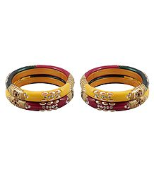 Set of 2 Stone Studded Lac Bangles