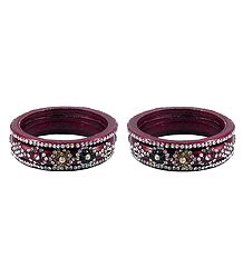Set of 2 White Stone Studded Maroon Lac Bangles