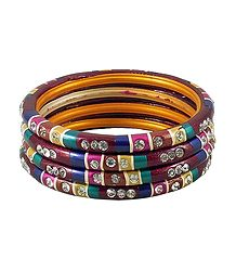 White Stone Studded Multicolor Lac Bangles