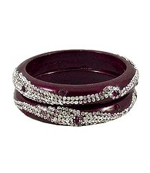 White Stone Studded Maroon Lac Bangles
