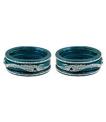 Set of 2 Stone Studded Cyan Blue Lac Bangles
