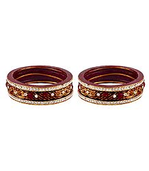 Set of 2 Stone Studded Maroon Lac Bangles