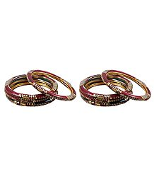 2 Sets of Stone Studded Maroon Lac Bangles