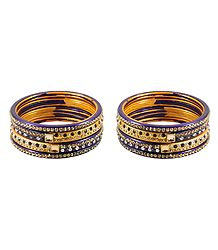 2 Sets of Stone Studded Purple with Yellow Lac Bangles