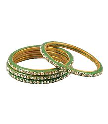 Stone Studded Green Lac Bangles