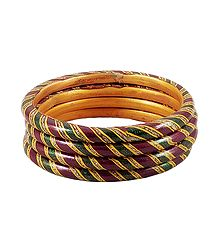 Maroon, Green and Yellow Painted Lac Bangles