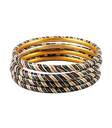 Beige, Green and Maroon Painted Lac Bangles