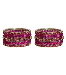 Set of 2 Magenta Stone Studded Metal Bangles
