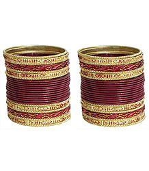 Set of 2 Maroon Glitter Metal Bangles