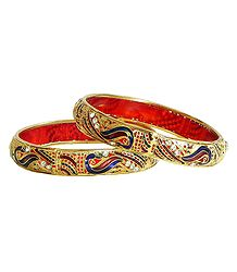 Pair of Gold Plated Meenakari Bangles