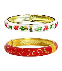 Set of 2 Red and White Meenakari Hinged Metal Bracelet