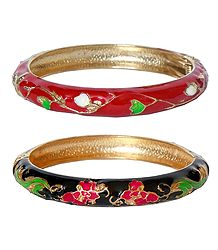 Set of 2 Red & Black Meenakari Hinged Metal Bracelet