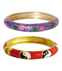 Set of 2 Red & Mauve Meenakari Hinged Metal Bracelet