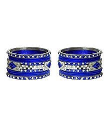 Set of 2 White Stone Studded Royal Blue Metal Bangles