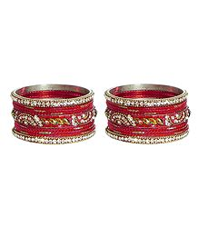 Set of 2 White Stone Studded Red Metal Bangles