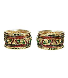 Set of 2 Red, Green and Yellow Stone Studded Metal Bangles