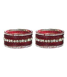 Set of 2 White Stone Studded Maroon Metal Bangles