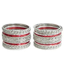 Set of 2 Stone Studded White with Red Bangles
