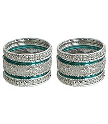 Set of 2 Stone Studded White with Cyan Bangles