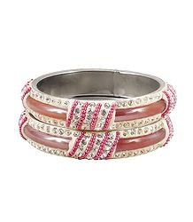 Pair of Light Peach Metal Bangles
