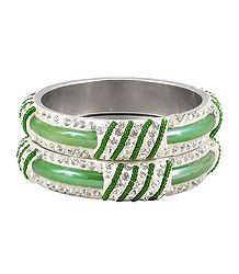 Pair of Light Green Metal Bangles with Stone and Beads