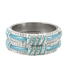 Pair of Light Blue Metal Bangles