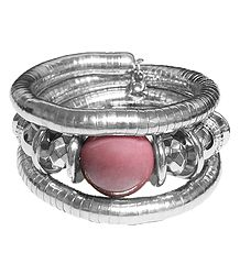 Metal Spring Bracelet with Pink Stone