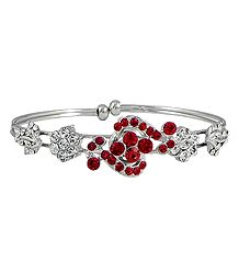 Red and White Stone Studded Cuff Bracelet